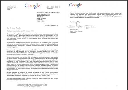Google lettre CNIL données personnelles
