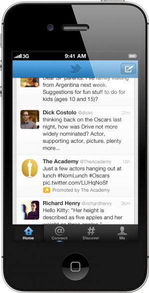 Twitter Tweet sponsorisé Timeline application mobile