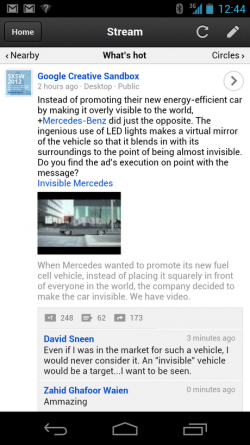 Google+ interface web mobile