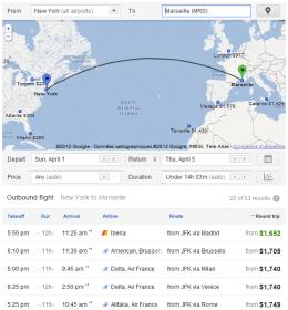 Google Flight New york marseille