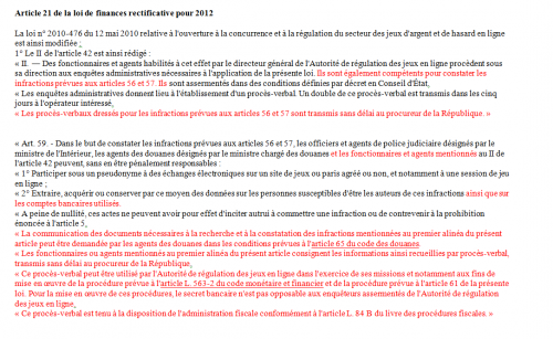 ARJEL loi de finances rectificative 2012