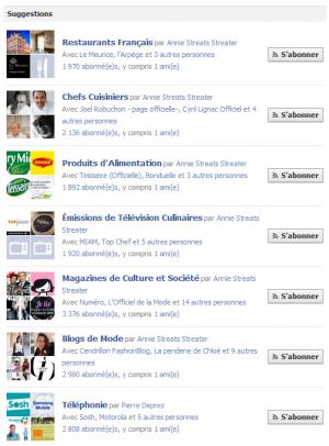 Facebook listes d'interets