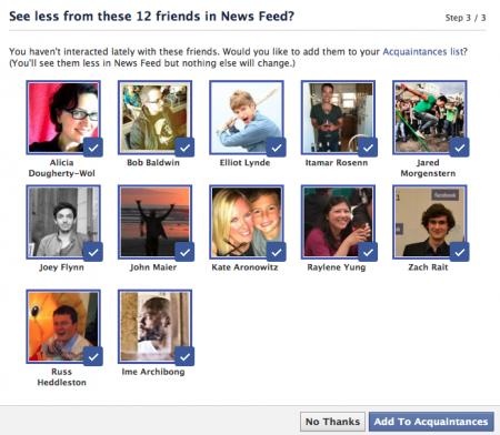 Facebook proposition connaissances