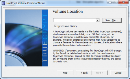 Truecrypt fichier unique