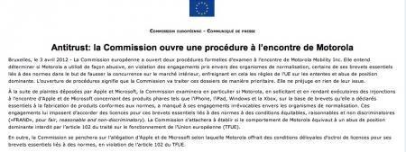 communiqué commission européenne motorola enquête