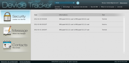 asus device tracker mise a jour