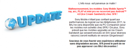 SFR Xperia smartphone Android 4.0