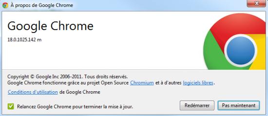 google chrome 18 mise à jour