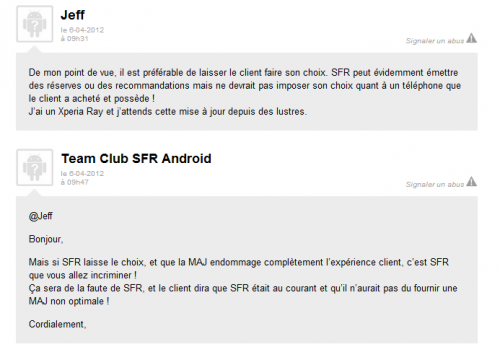 Xperia SFR mise a jour android 4.0