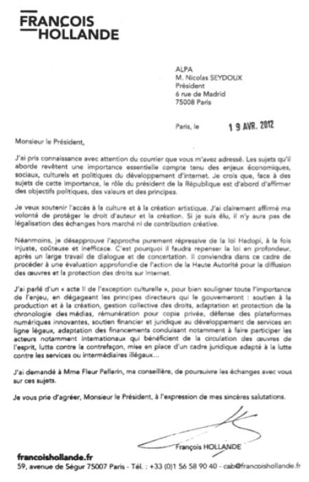 lettre françois hollande ALPA