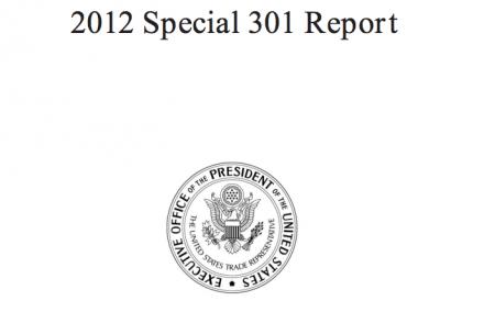 US trade representative report special 301 2012