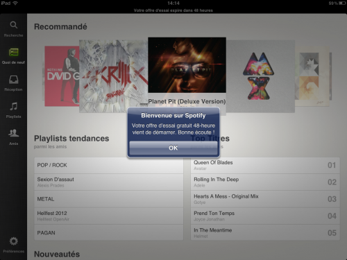 Spotify iPad Essai Gratuit