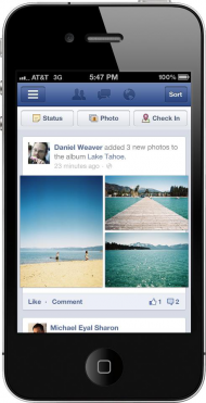 Facebook application mobile taille photos