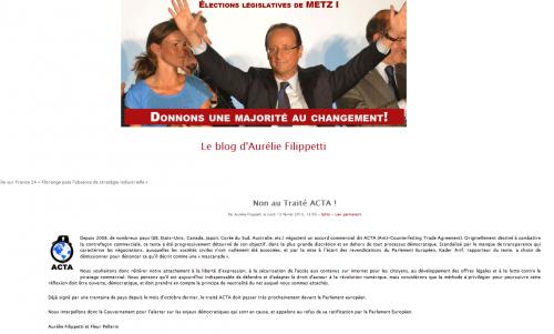 Aurélie Filippetti ACTA
