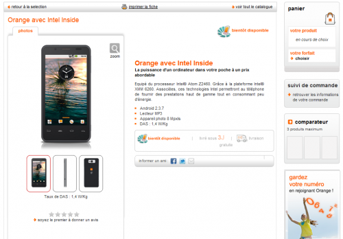 Orange avec Intel Inside