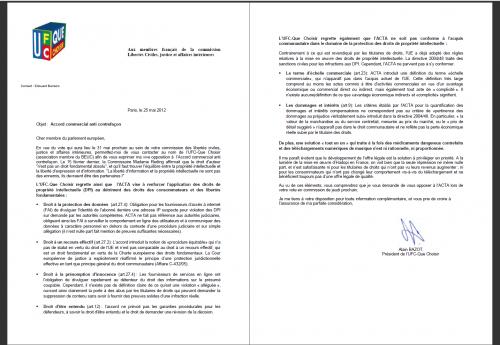 UFC Que Choisir rejet lettre ACTA