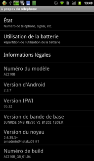 Orange avec Intel Inside Captures Android 2.3.7
