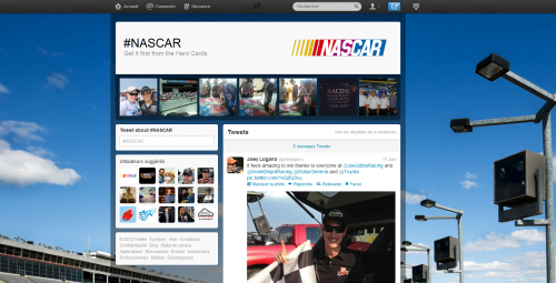 Twitter page hashtag NASCAR