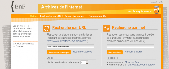 interface archives web bnf
