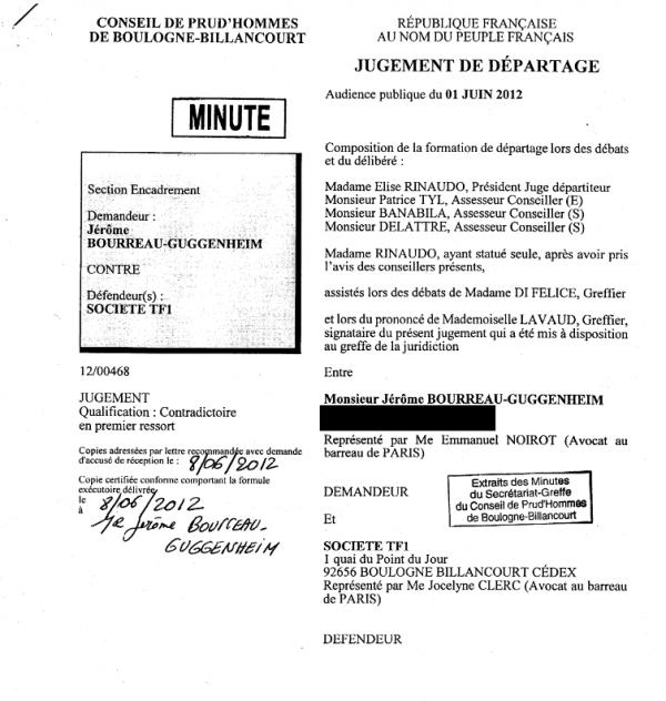 JBG salarié TF1 conseil de prud'hommes