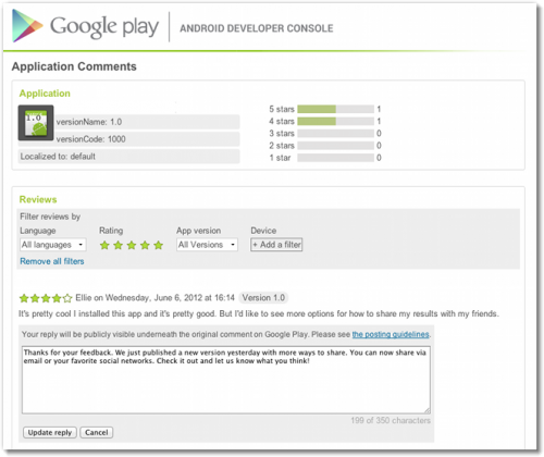 google developpeur reponse commentaire play store