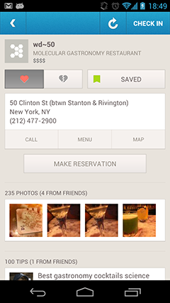 foursquare restaurant reservation