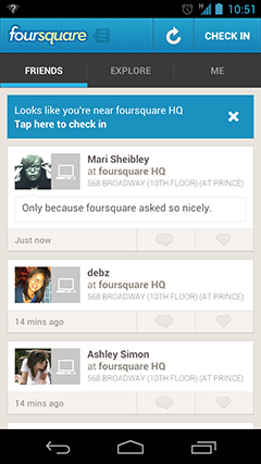 foursquare check-in suggestion