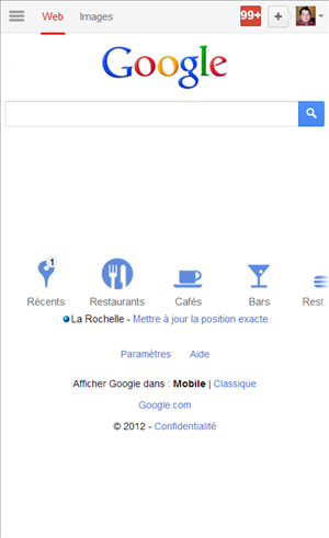 google mobile page accueil