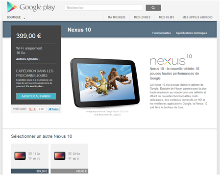 Nexus 10 Disponible Play Store