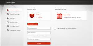 MEGA Modification de mot de passe