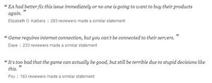 Commentaires SimCity Amazon