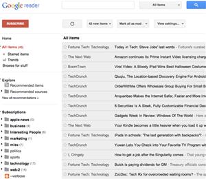 Google Reader 2012