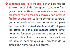 hollande engagement hadopi