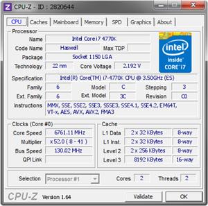Validation CPU-Z 6.7 GHz 4770K