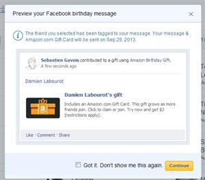 Facebook Amazon Cadeau