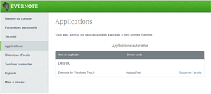 Evernote double authentification