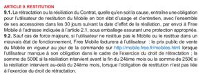 Free Mobile Location CGV Frais Article 9.2