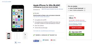 iPhone 5c 8 Go opérateur