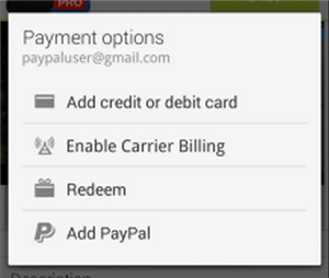 Paiement Paypal Google Play