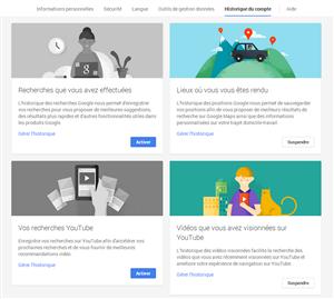 Google Historique de compte