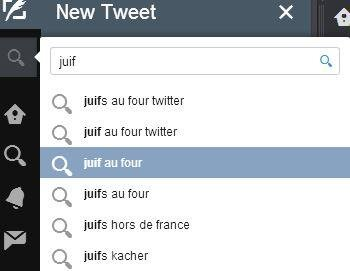 juifs au four arabes dehors twitter suggestion