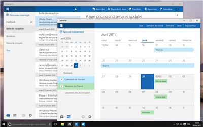 Windows 10 UWP Calendrier Outlook