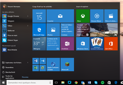 Windows 10 menu démarrer
