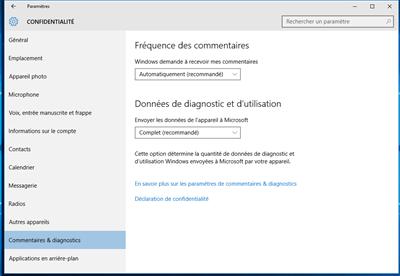 Windows 10 vie privée