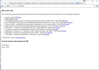 Chrome onglets mémoire désactivation
