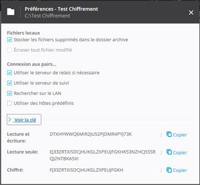 BitTorrent Sync 2.3 Chiffrement Clefs