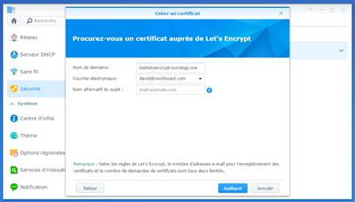 Synology Let's Encrypt