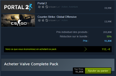 Steam facturation packs full price