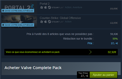 Steam facturation packs