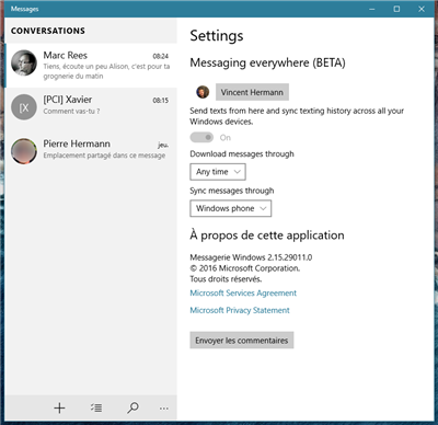 windows 10 mobile sms messages